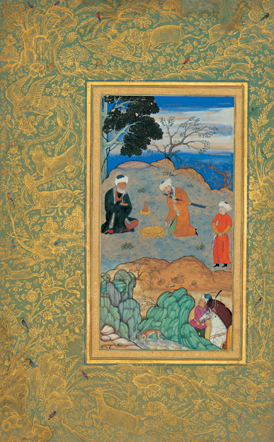 Miniature painting by Behzad with gold leaf border