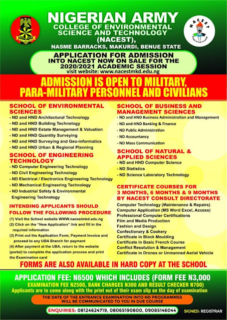 NAITES (NACEST) HND Full-Time Admission Form 2020/2021