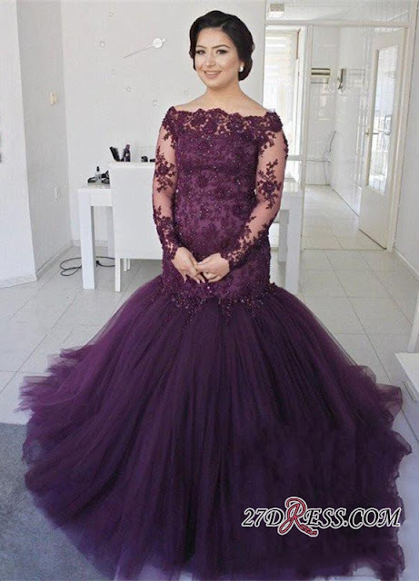 Glamorous Long Sleeve 2019 Plus Size Prom Dress Mermaid Lace Appliques On Sale