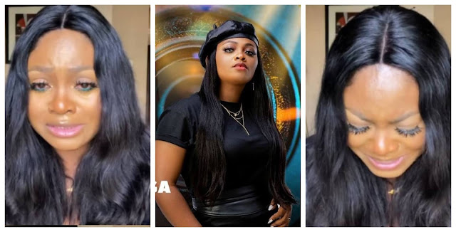 #BBNaija Moment Tega cries as she publicly apologizes to her husband (Video)