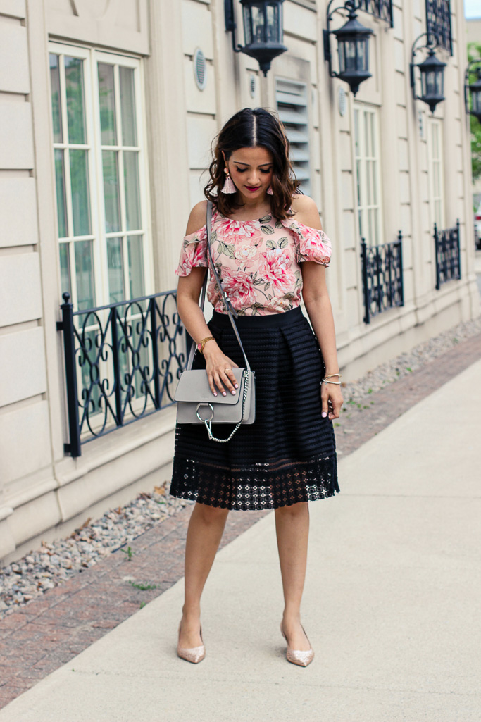 Le Chateau Pink Cold Shoulder Top Flared Black Midi Skirt Chloe Dupe Bag Blogger Outfit
