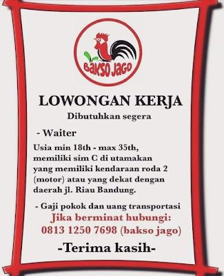 Lowongan Kerja Waiter di Kota Bandung