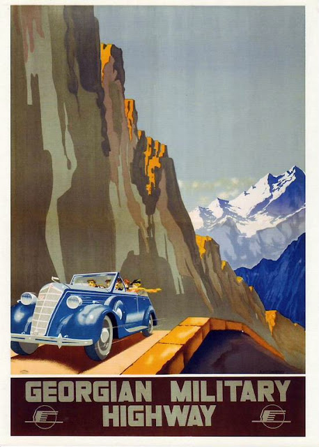 soviet travel posters caucasus , central asia art craft tours