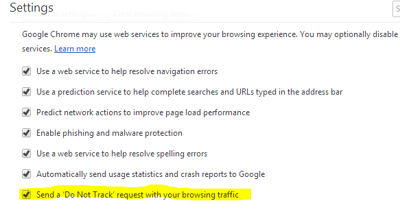 Enable Do Not track option in Google Chrome: Intelligent Computing