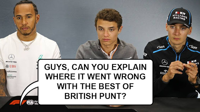 """A glum Hamilton, Norris and Russell being asked in a press conference, """"Guys, can you explain where it went wrong with the Best of British Pitlane Punt?"""""""