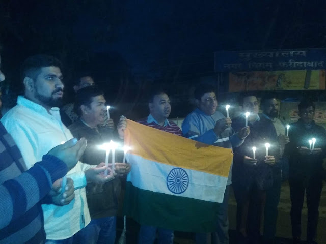 Faridabad residents pay tribute to Pandwama martyrs by candle march