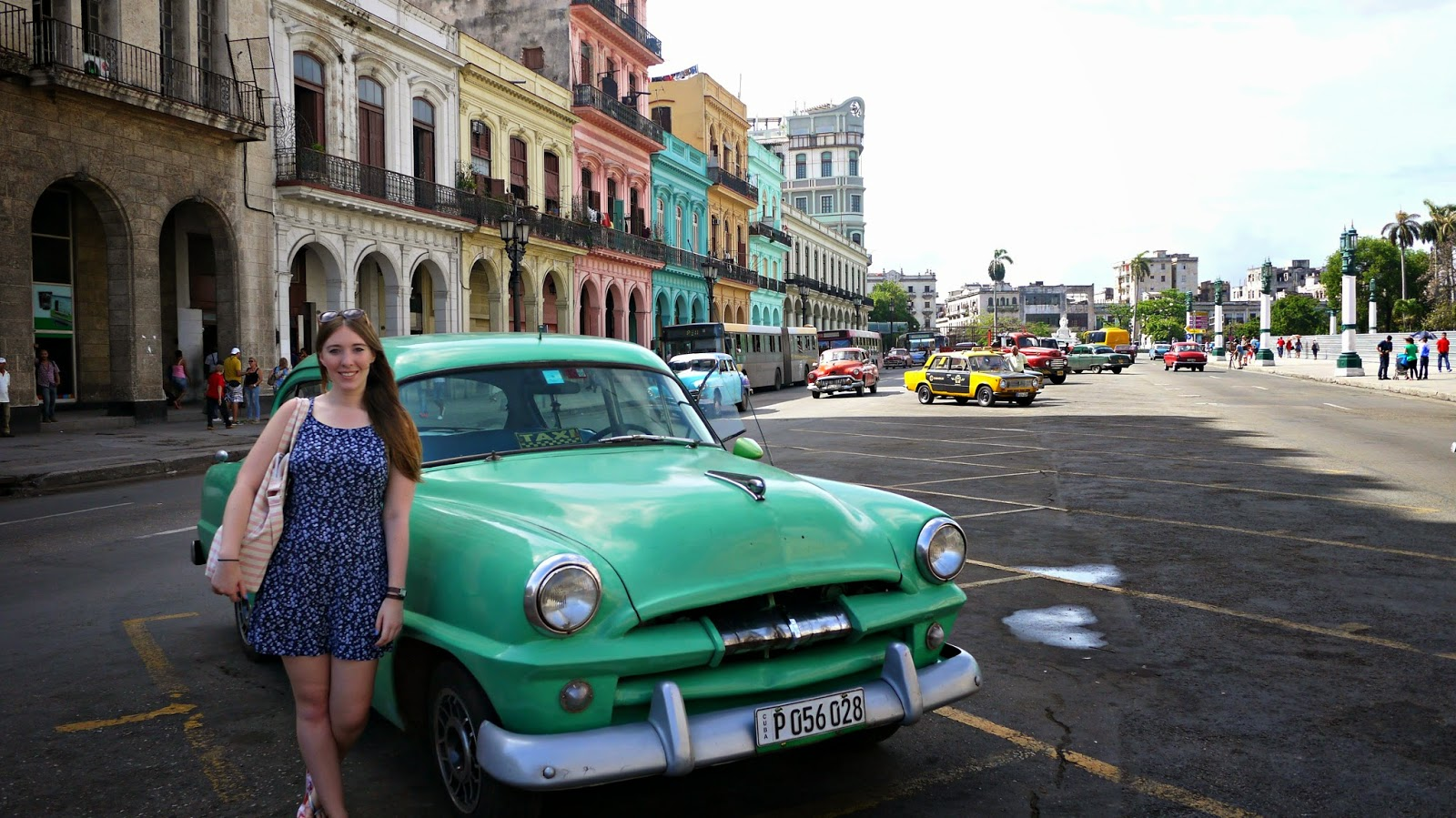 Old cars and colourful buildings in Havana Cuba