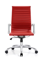 Red Leather Ribbed Back Chair at OfficeAnything.com