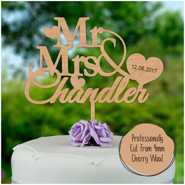 Wooden Personalized Wedding Cake Topper