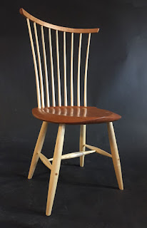 windsor chair, Vermont, cherry and ash, modern windsor chair
