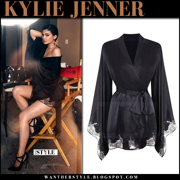Kylie Jenner in black silk kimono robe agent provocatuer may 2017 what she wore instagram