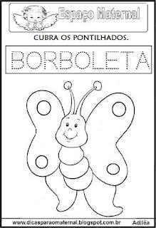 Desenho borboleta primavera e maternal