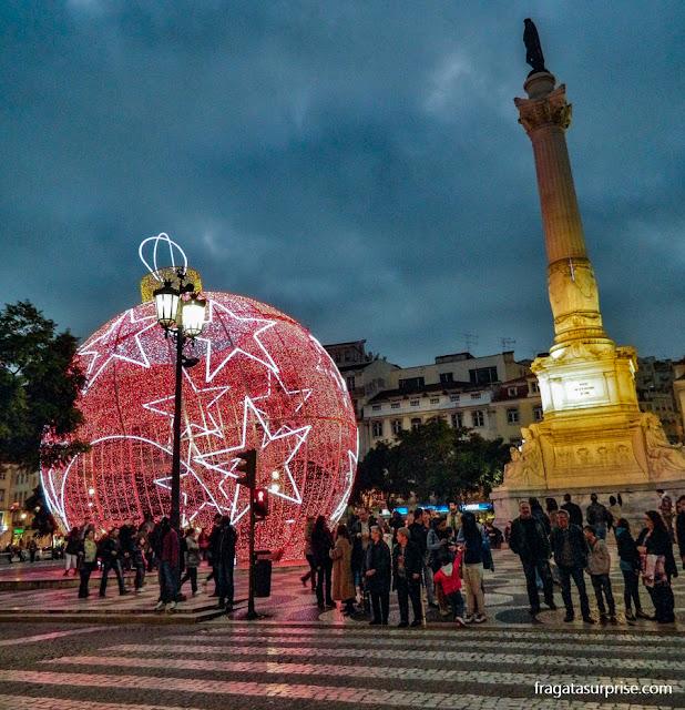 Decoração natalina no Largo do Rossio, Lisboa