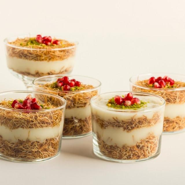 حلوى الكنافة في كاسات بالشيكولاتة والقشطة اللذيذة