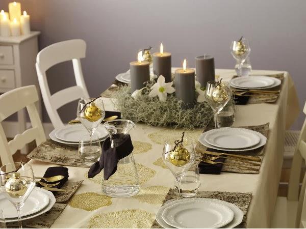 mesa do natal dourada