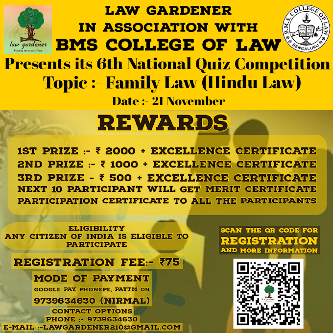 Law Gardener in Association with BMS College of Law presents 6th National Level Quiz Competition On Family Law (Hindu Law)