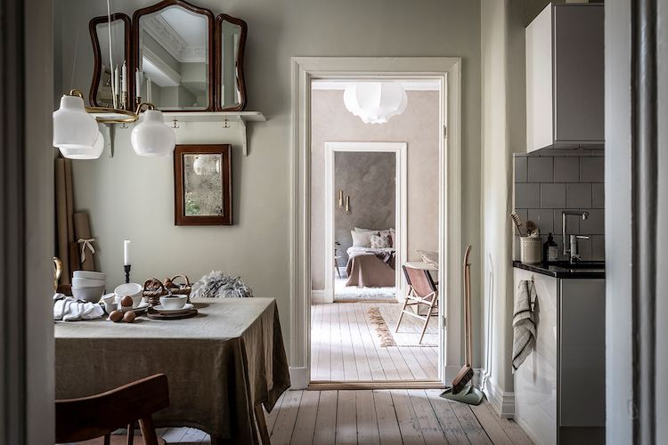 An Earthy Swedish Apartment Where Old Meets New