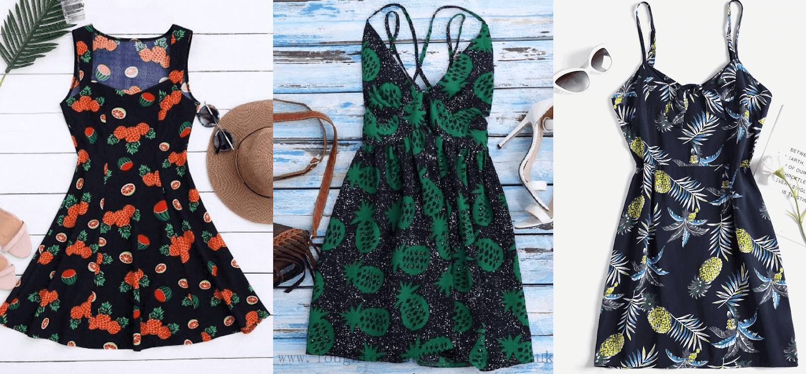 Vestidos com estampas de abacaxi para colorir a primavera