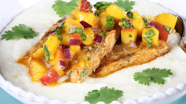 Chili Salmon With Peach Mango Salsa and Grits