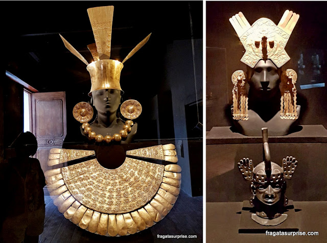 Máscaras de ouro do acervo do Museu Larco, em Lima