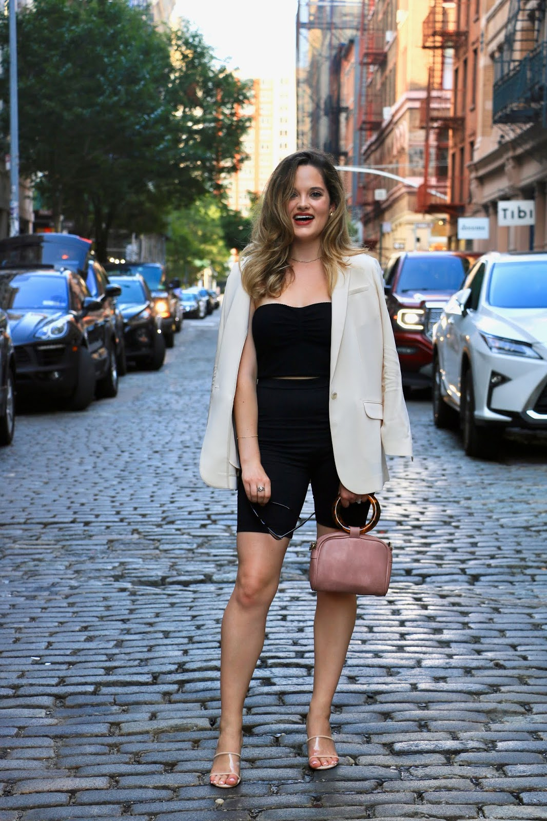 Nyc fashion blogger Kathleen Harper's bike shorts outfit.