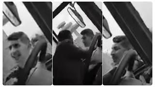 بالفيديو عون امن يهدد سائق حافلة بالقتل... و ضرب و سب و شتم و كفر ربي في شهر رمضان....