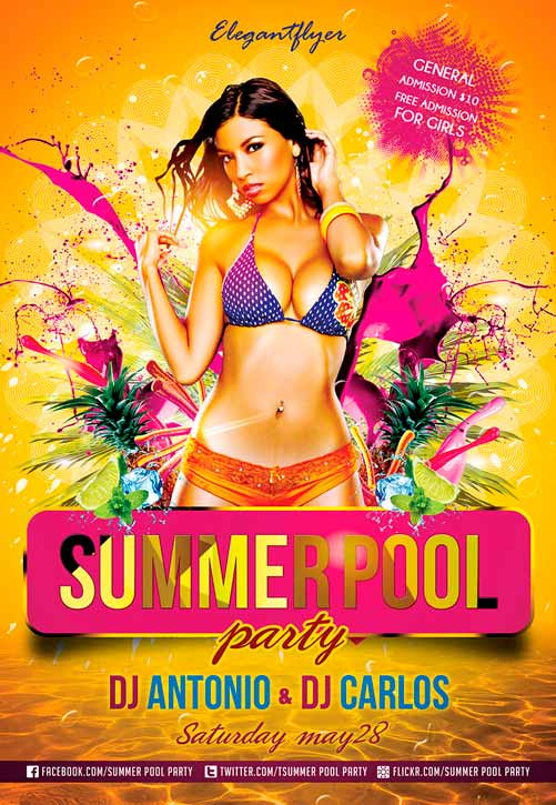 Summer Pool Party Free Flyer Psd Template Download Free Flyer