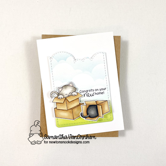 New Home Card by Samantha VanArnhem | Newton Loves Boxes Stamp Set, Frames & Flags Die Set, Sky Borders Die Set, and Clouds Stencil by Newton's Nook Designs