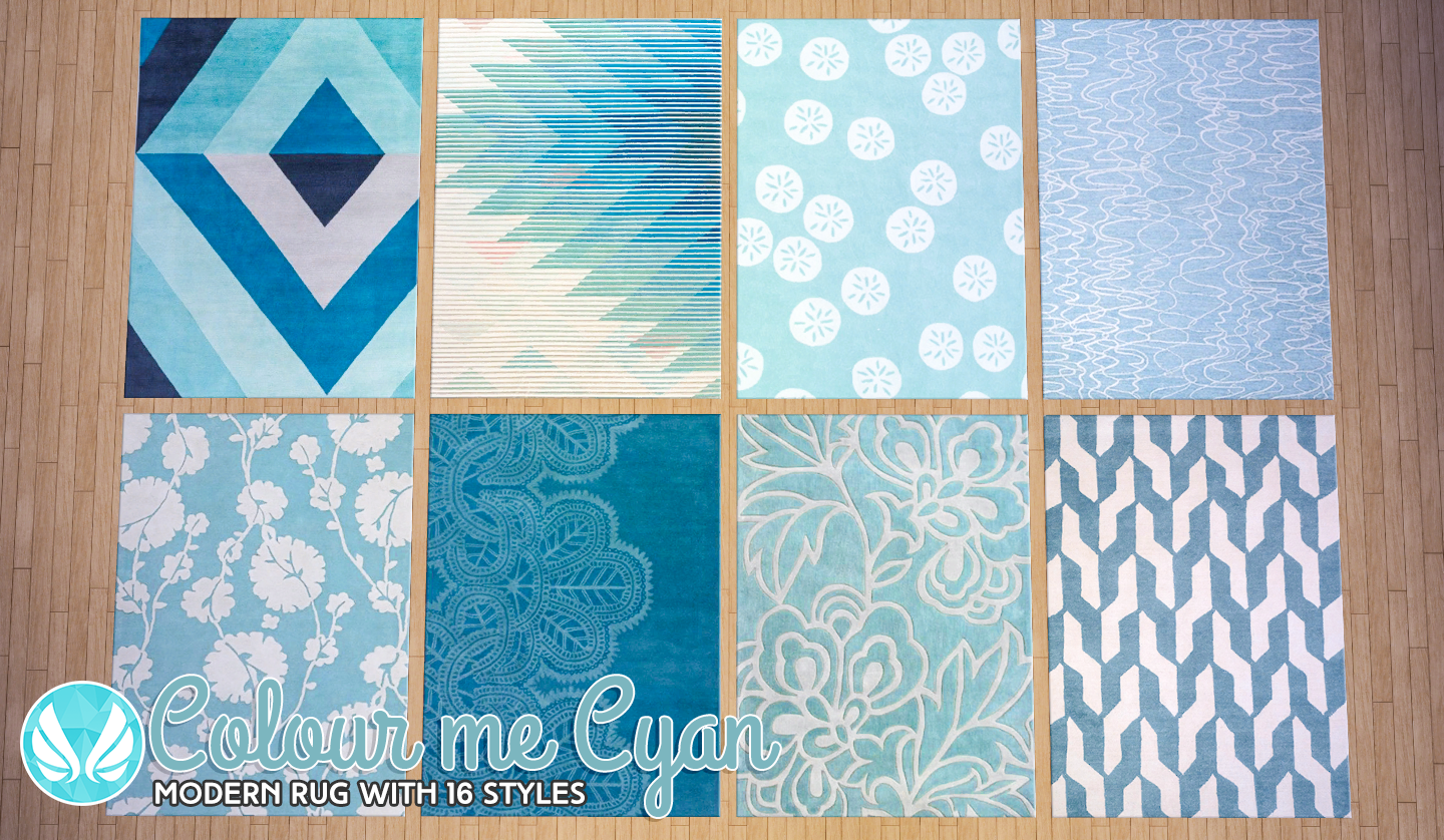 Simsational Designs Colour Me Cyan Modern Rugs