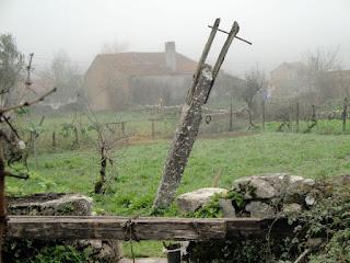 O poste desta picota é em pedra e resistiu ao tempo. Ruínas de um passado não muito distante.