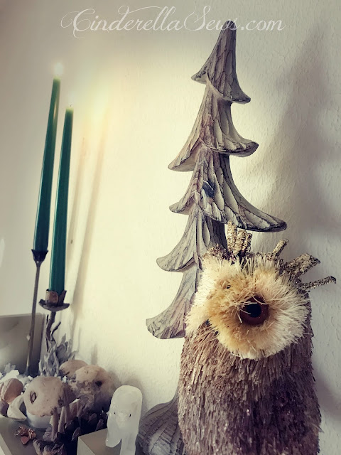 Natural Yultide decorations readying for Christmas with my herbs, crystals, candles, and animal elements #yule #yultide #naturedecor