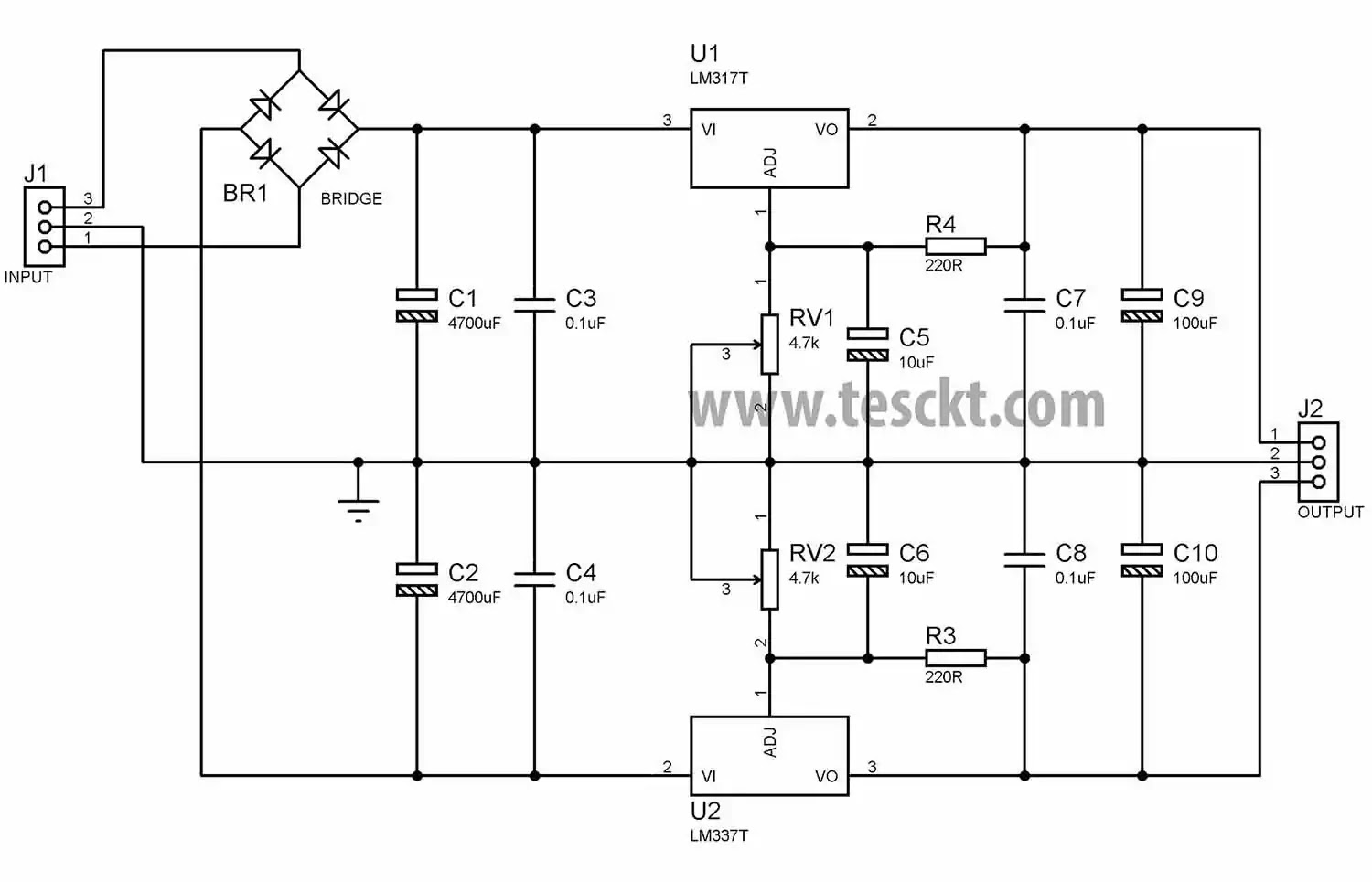 dual power supply - adjustable 1.25v to 30v using lm317 & lm337