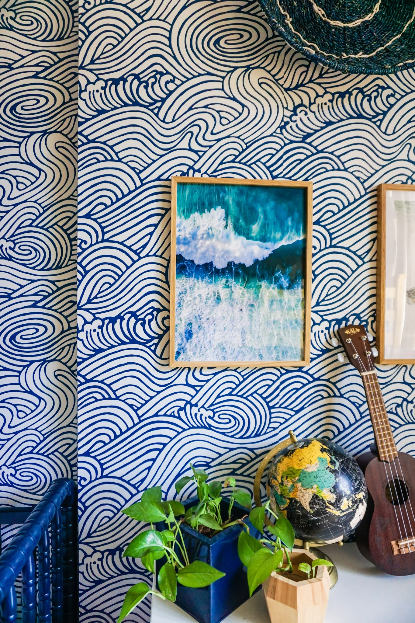Waves wallpaper // wallpaper for kids room // removable wallpaper for kids room // calming wallpaper // kids bedroom // poster store prints and frames // waves art ideas for kids room // gallery wall ideas for kids room // blue and white boys room // eclectic kids room ideas // boho kids room ideas // wallpops saybrook wallpaper // retro bedroom ideas // cute kids room ideas // cute kids room decor // boho kids room decor // surf inspired kids room // California inspired kids room // Hawaii inspired kids room