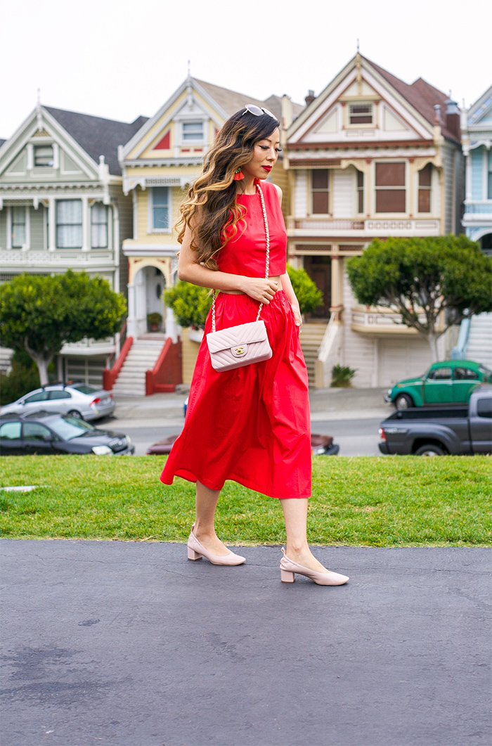Red crop top, red maxi skirt,  pale rose block heel, everlane day heel, chanel classic mini flap bag, tassel earrings, chloe sunglasses, san francisco street style, san francisco fashion blog
