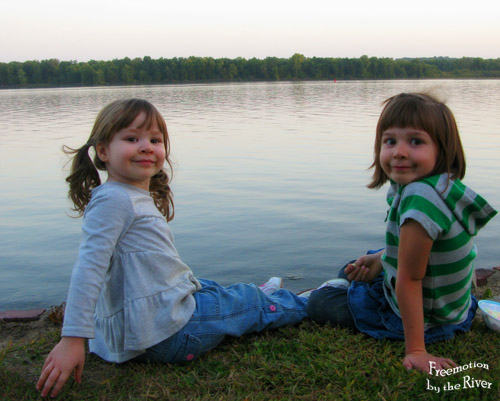 Grandchildren along the river