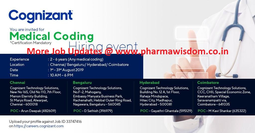 Cognizant - Mega Hiring Event from 5th - 31st August, 2019