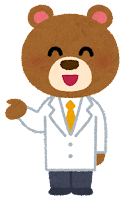 白衣を着た動物のキャラクター(クマ・男性)