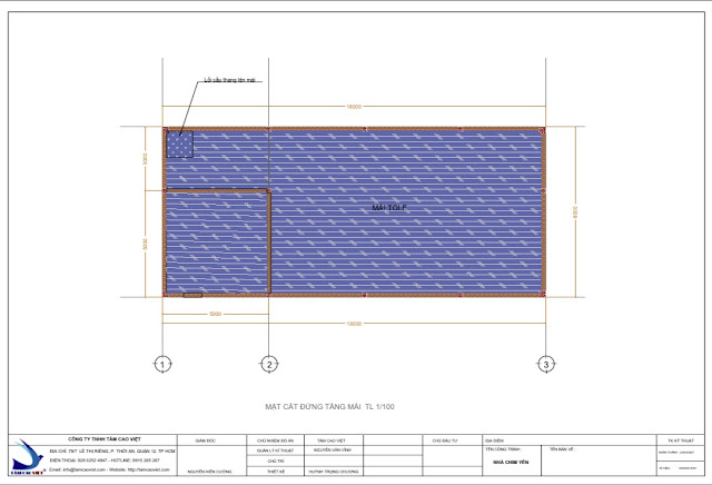 Thiết kế tầng áp mái nhà yến 8x18x3