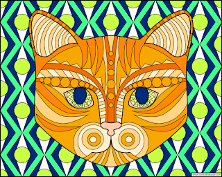 Cat coloring page- blank version available in jpg and transparent png