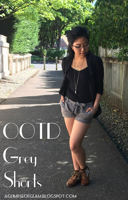 OOTD Grey Shorts A Glimpse of Glam Andrea Tiffany