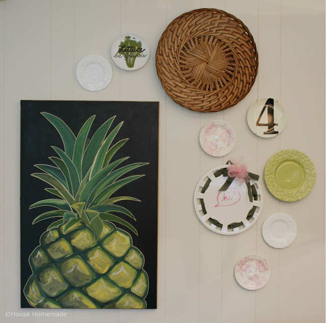 Turn a tray and plates into wall art.