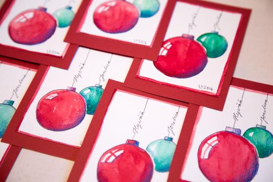 Joulukortti vesiväreillä maalaten