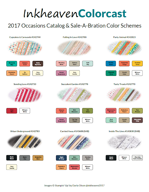 Color Schemes download for the 2017 Occasions and Sale-A-Bration Catalogs shared by Darla Olson at Inkheaven