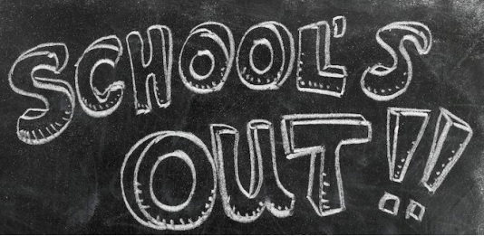 Chalkboard with School's Out written across it