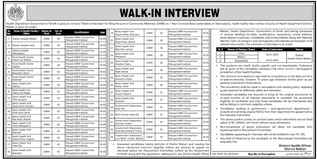 Health Department Jobs 2021 - Government of Sindh Jobs 2021 - Latest Govt Jobs 2021