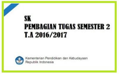 Contoh Format SK Pembagian Tugas Mengajar Semester 2 Tahun 2016/2017