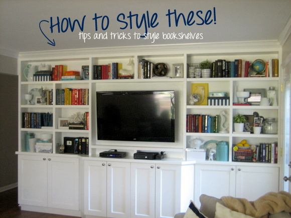Tips and Tricks to style a bookshelf. Find out more at The DIY Playbook!