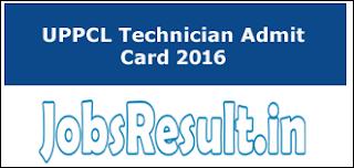 UPPCL Technician Admit Card 2016
