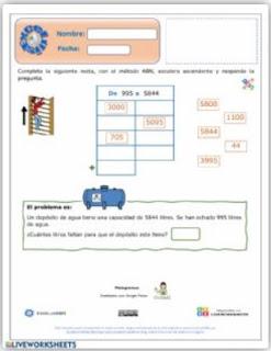Ficha interactiva: Restas en escalera incompletas ABN.