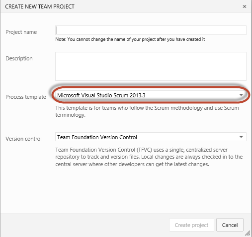 team foundation server process templates - tfs online creating and connecting to tfs online with